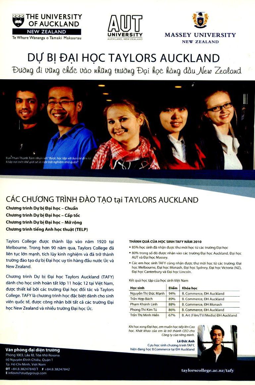 Chương trình dự bị vào 3 trường đại học hàng đầu New Zealand