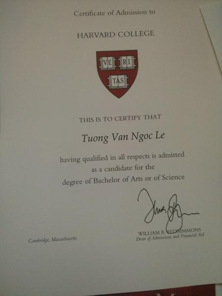 Giấy xác nhận nhập học của Trường ĐH Harvard.