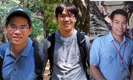 hóm phát triển dự án, từ trái qua phải Nguyễn Minh Hiển, La Thành Nhân, Phan Huy Dũng