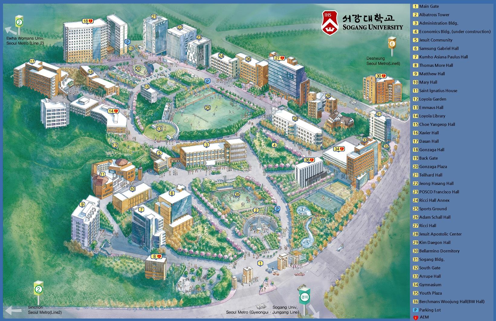 Sơ đồ trường Đại học Sogang Hàn Quốc